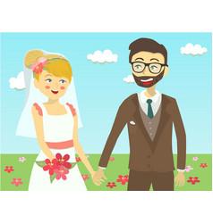 Closeup wedding couple in garden vector