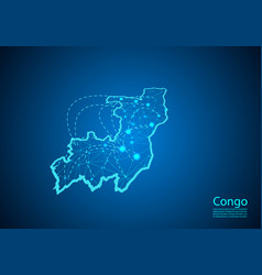 Congo map with nodes linked by lines concept of vector