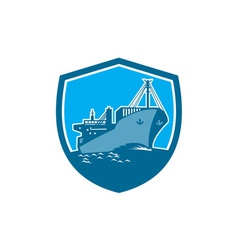 Container Ship Cargo Boat Shield Retro vector image