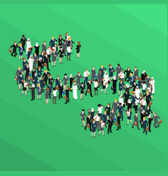 crowd dollar sign isometric concept vector image