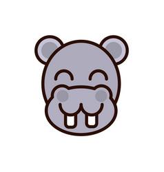 cute face hippo animal cartoon icon vector image