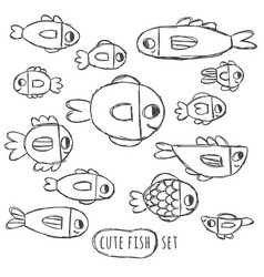 Cute handdrawn fish set isolated on white vector