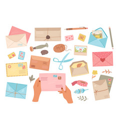 different envelopes letter in envelope postcard vector image