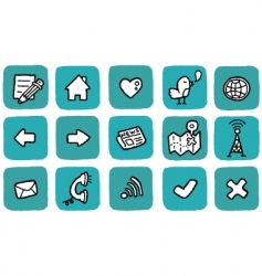 doodle icon set website vector image