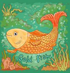 Doodle of gold fish sea background vector