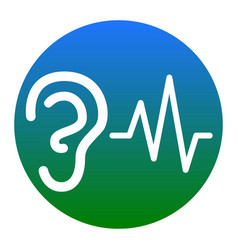 Ear hearing sound sign white icon in vector