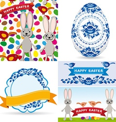 Easter set traditional eggs gzhel flowers birds vector image