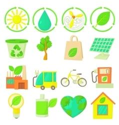 Ecology items icons set cartoon style vector