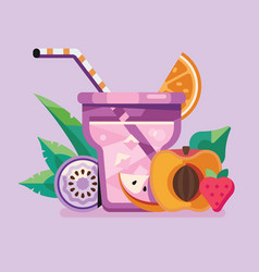 exotic fruit and berry summer smoothie cocktail vector image