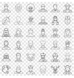 Face icons set outline style vector
