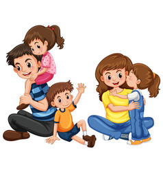 Father and mother with three kids vector