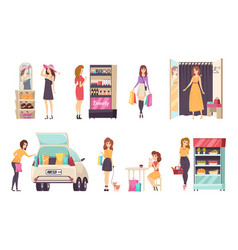Females shopping store purchasing clothes vector