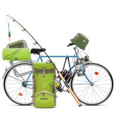 Fishing bicycle vector