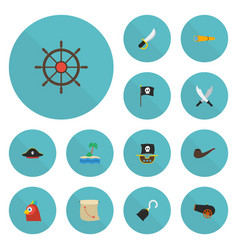 flat icons ship steering wheel pirate hat banner vector image