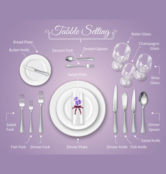 Formal dinner place setting infographics vector