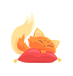 funny red kitten sleeping on a pillow cute vector image