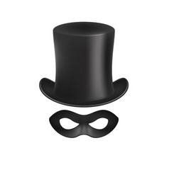Gentleman hat and eye mask in black design vector
