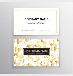 Golden business card with brush splashes vector