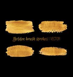 golden paint brush strokes set design vector image