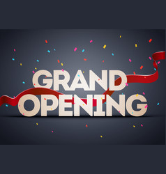 grand opening ceremony poster with red ribbon vector image
