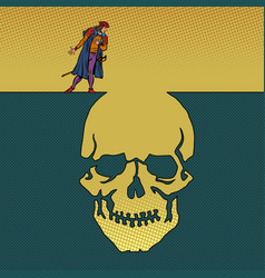hamlet and skull man next to a deep pit vector image