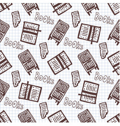 Hand drawn seamless pattern with books and vector