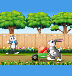 happy easter bunnies on the nature vector image