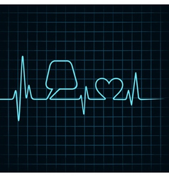 Heartbeat make a message bubble and heart icon sto vector