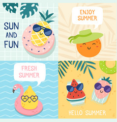 Hello summer poster funny fruits pineapple in vector
