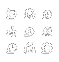 human resources line icons on white background vector image