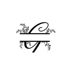 initial g decorative plant monogram split letter vector image