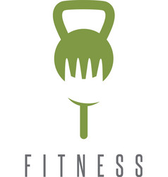 kettlebell and fork healthy food design template vector image