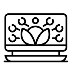 Laptop plant grow control icon outline style vector
