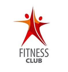 Logo for fitness in form a red star vector
