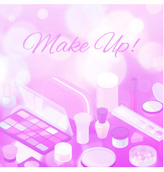 makeup beauty collection purple blurred background vector image