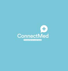 medical cross logo remote healthcare app vector image