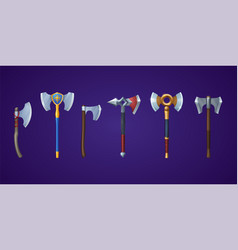 Medieval battle axe ax and battleaxe set vector
