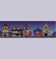 Medieval night street with half-timbered houses vector