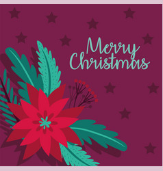 Merry christmas card with flower vector