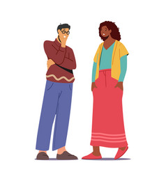 multiethnic couple talking asian man and african vector image
