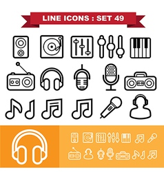 Music Line icons set 49 vector image