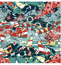 nautical and yachting elements patchwork vector image