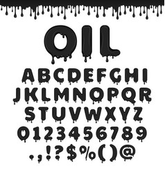 Oil latin alphabet vector