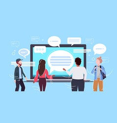 People using laptop computer messenger application vector