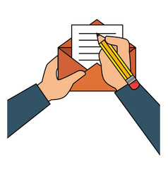 Person writing letter mail vector