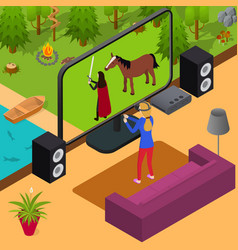 Play video game and gamer girl isometric view vector