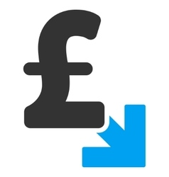 Pound decrease flat icon symbol vector