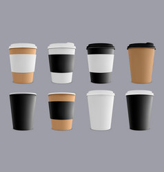 realistic coffee cup paper cardboard coffee cups vector image