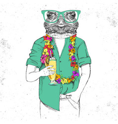 Retro hipster animal frog with tropic cocktail vector