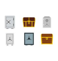 safe icon set flat style vector image